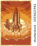 space shuttle taking off on a... | Shutterstock .eps vector #1023621961