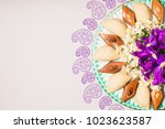 novruz tray plate with... | Shutterstock . vector #1023623587