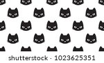 Stock vector cat head seamless pattern vector halloween isolated wallpaper background 1023625351