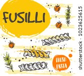 fusilli pasta card concept... | Shutterstock .eps vector #1023625615