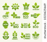 organic eco logos and labels... | Shutterstock .eps vector #1023625669