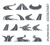 stylized symbols of road and... | Shutterstock .eps vector #1023625687