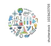 vector sketched science or... | Shutterstock .eps vector #1023625705