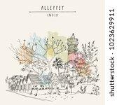 lighthouse in alleppey ...   Shutterstock .eps vector #1023629911