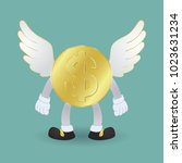 golden coins dollar with wings. ...   Shutterstock .eps vector #1023631234