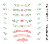 collection of flourishes... | Shutterstock .eps vector #1023633751