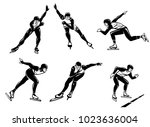 set of illustrations of speed... | Shutterstock .eps vector #1023636004