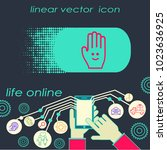 hand gesture line icon set in... | Shutterstock .eps vector #1023636925