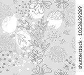 trendy floral vector seamless... | Shutterstock .eps vector #1023639289