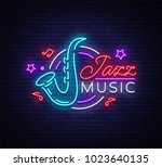 jazz music is a neon sign.... | Shutterstock .eps vector #1023640135