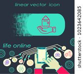 line icon  hand money for house | Shutterstock .eps vector #1023642085