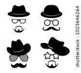man faces with glasses ... | Shutterstock .eps vector #1023646264