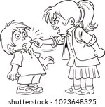 children shouting to each other ... | Shutterstock .eps vector #1023648325