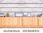 mock up top table with shelves... | Shutterstock . vector #1023648331