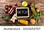 fruits juice and smoothie on ... | Shutterstock . vector #1023653707