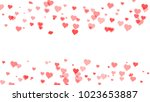 red hearts on white backgrounds.... | Shutterstock . vector #1023653887