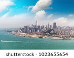 amazing aerial skyline of san... | Shutterstock . vector #1023655654