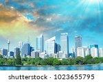 sydney skyline with a beautiful ... | Shutterstock . vector #1023655795