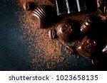 assortment of dark  white and... | Shutterstock . vector #1023658135