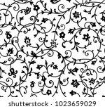 vintage floral pattern. rich... | Shutterstock . vector #1023659029