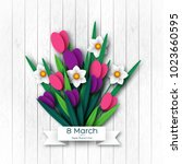 march 8 greeting card for... | Shutterstock .eps vector #1023660595
