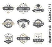 camping logos templates vector... | Shutterstock .eps vector #1023662875