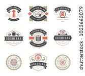 sushi restaurant logos set... | Shutterstock .eps vector #1023663079