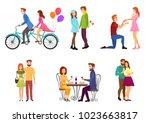 vector romantic dating couples... | Shutterstock .eps vector #1023663817