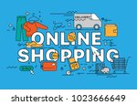 online shopping. lettering flat ...   Shutterstock .eps vector #1023666649