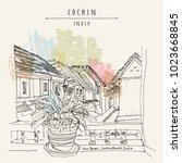 cochin  kochi   kerala  india.... | Shutterstock .eps vector #1023668845