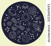 cosmos. set of elements in... | Shutterstock .eps vector #1023669691