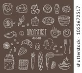 collection of doodles breakfast ... | Shutterstock .eps vector #1023672517