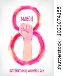 women's march. female hand with ... | Shutterstock .eps vector #1023674155