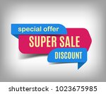 super sale banner  discount tag ... | Shutterstock .eps vector #1023675985