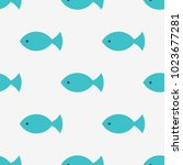 seamless fish pattern  kids... | Shutterstock .eps vector #1023677281