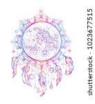 vector illustration moon on the ... | Shutterstock .eps vector #1023677515