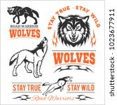 vintage wolf motorcycle label   ... | Shutterstock .eps vector #1023677911