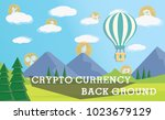 crypto currency on cloud  blue... | Shutterstock .eps vector #1023679129