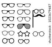 set of vector glasses. photo... | Shutterstock .eps vector #1023679687