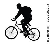 men with  backpack ride bike ... | Shutterstock .eps vector #1023682375