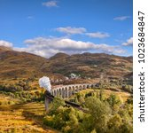 glenfinnan viaduct and the... | Shutterstock . vector #1023684847