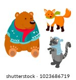 bear  fox  raccoon in winter... | Shutterstock .eps vector #1023686719