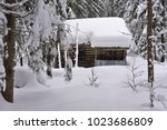 hunting lodge in the winter...   Shutterstock . vector #1023686809