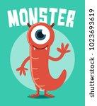 red monster with one eye | Shutterstock .eps vector #1023693619