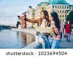 blond hipster girl in... | Shutterstock . vector #1023694504