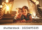 happy family loving children... | Shutterstock . vector #1023695335