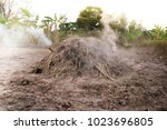manufacturing charcoal  burn... | Shutterstock . vector #1023696805