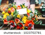 spring flowers bouquet with...   Shutterstock . vector #1023702781