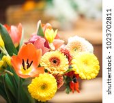 spring flower bouquet...   Shutterstock . vector #1023702811