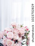 flower bouquet of pink roses on ...   Shutterstock . vector #1023702829